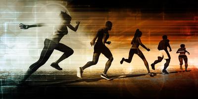 athletes running