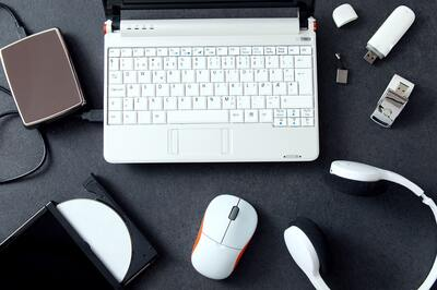Computer peripherals and laptop accessories. Composition on stone