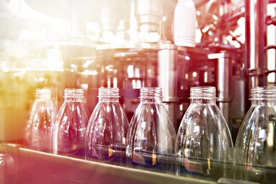 CLine of bottling beverages in plastic bottles